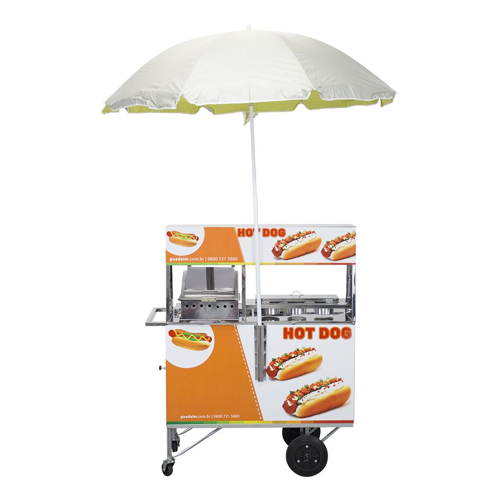 Carrinho de Hot Dog Chapa e Prensa Adesivado e Guarda-Sol