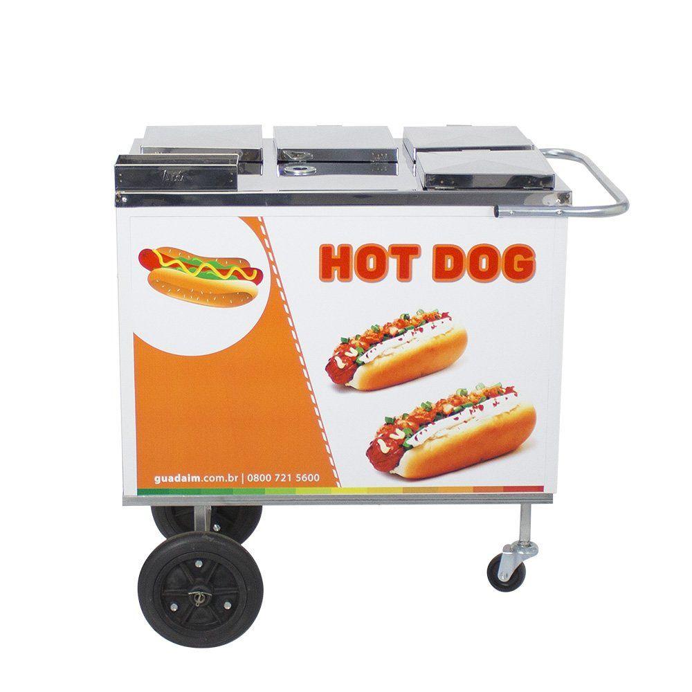 Carrinho de Hot Dog, Lanches e Cachorro Quente CH1 com Toldo Alsa