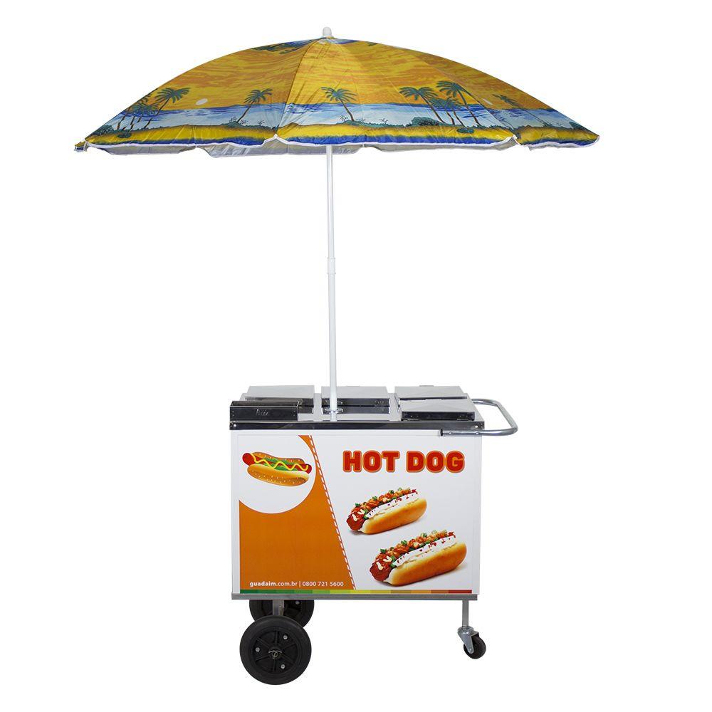 Carrinho de Hot Dog, Lanches e Cachorro Quente CH1 com Guarda-Sol Alsa