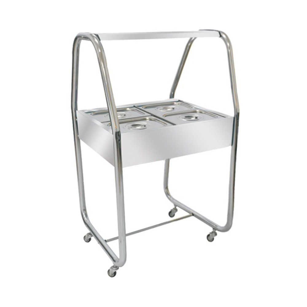Carro Buffet de Inox 4 Cubas Frias com Placa de Gel