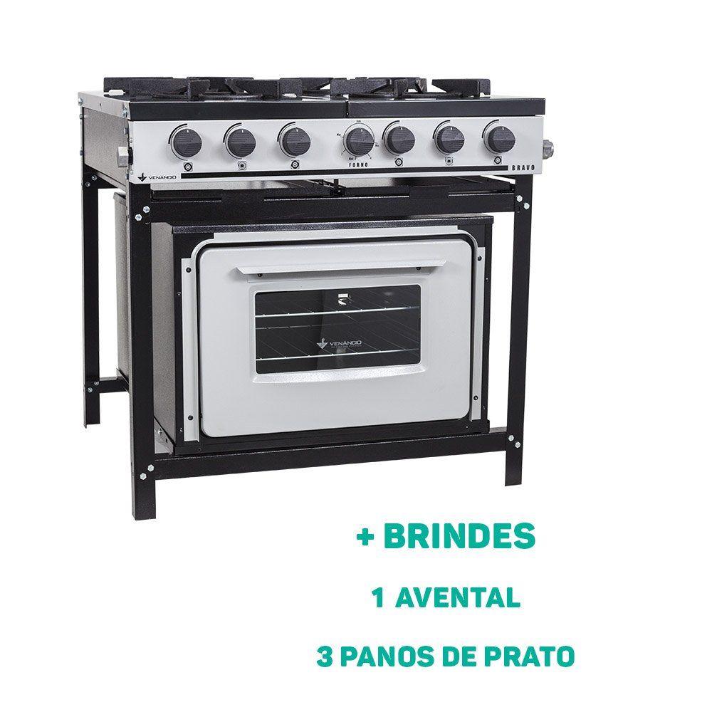 Fogão Industrial 4 Bocas Com Forno Linha Bravo + Brindes