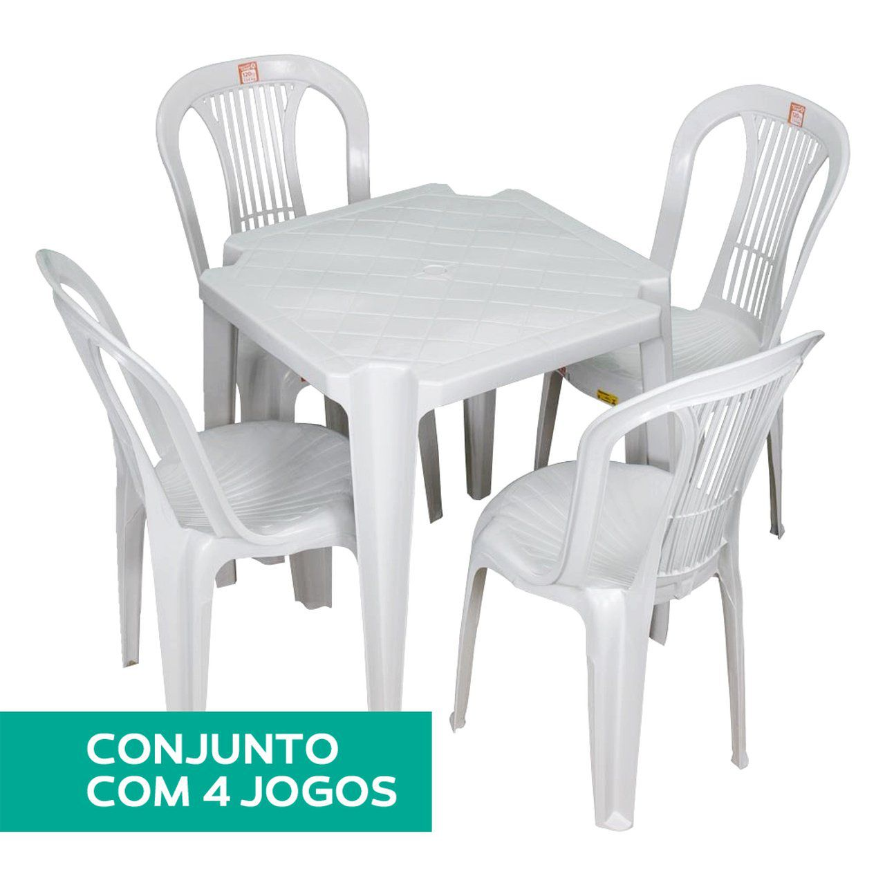 Mesa de Plástico Kit com 4 Mesas e  16 Cadeiras