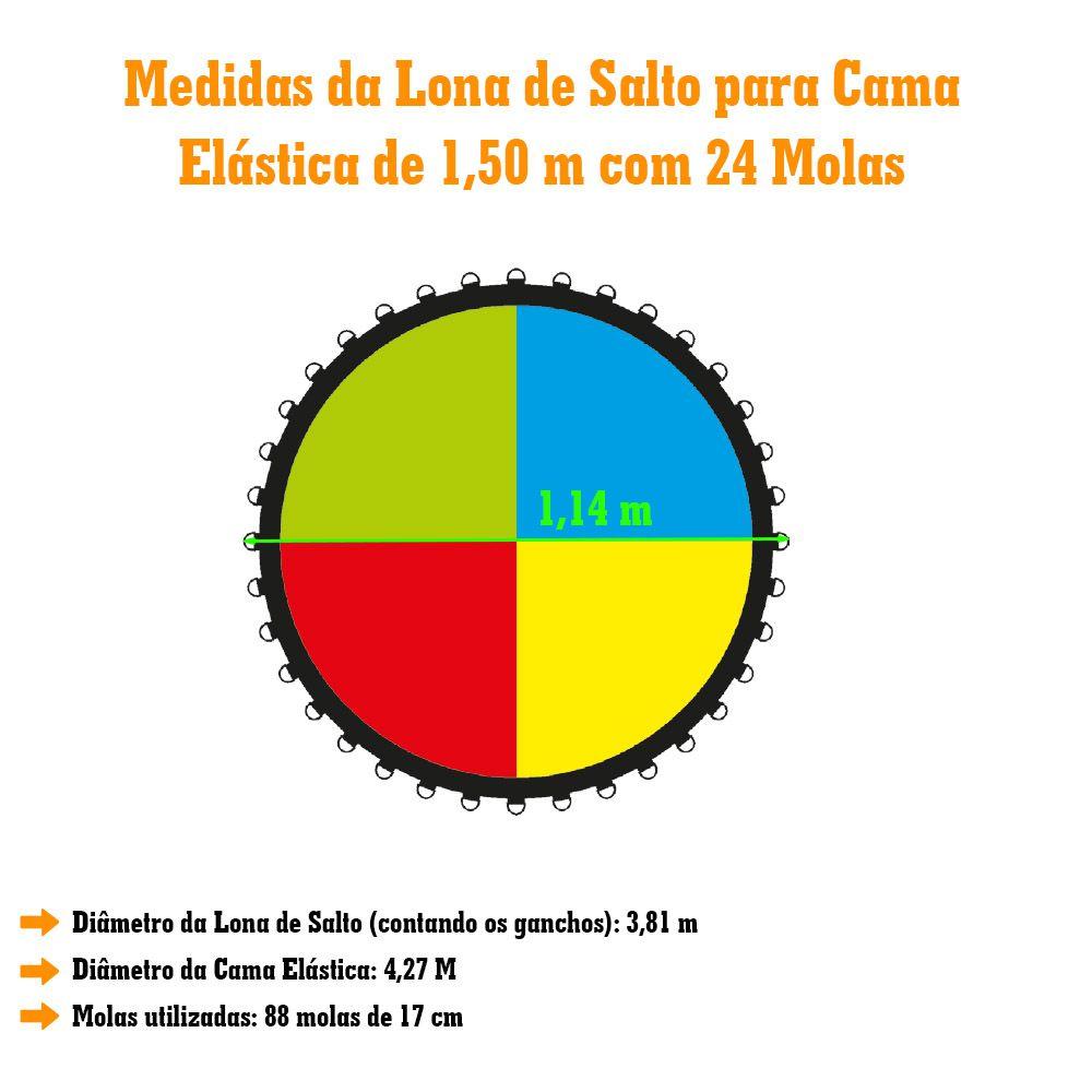 Lona de Salto para Cama Elástica de 1,50M com 24 Ganchos Canguri Quadricolor