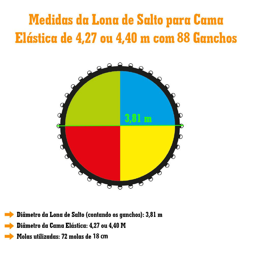 Lona de Salto Para Cama Elástica de 4,27/4,40M com 88 Ganchos Canguri Quadricolor