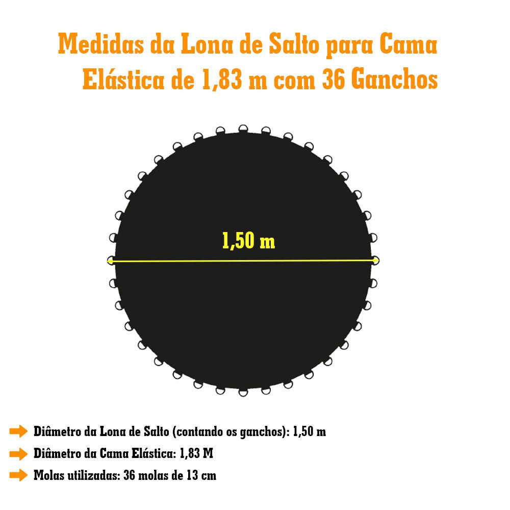 Lona de Salto para Cama Elástica de 1,83M com 36 Ganchos  Preta Emborrachada Canguri