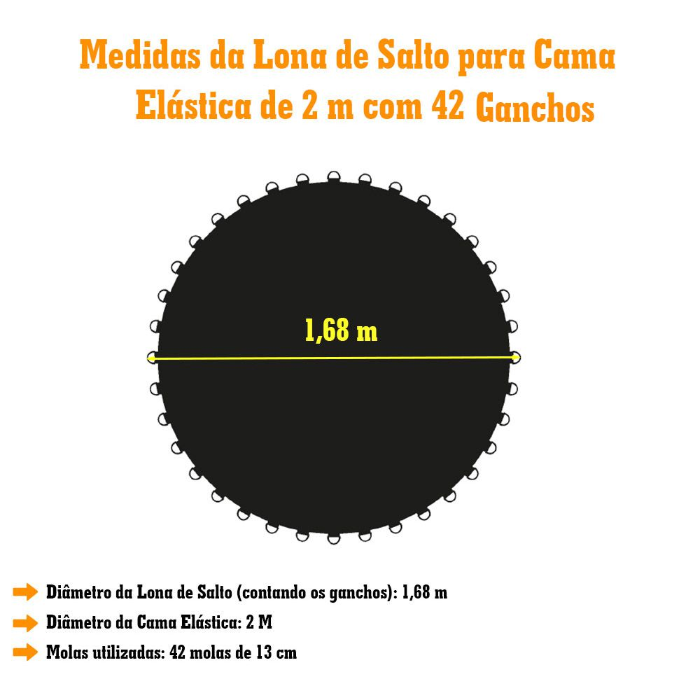 Lona de Salto para Cama Elástica de 2,00M com 42 Ganchos Preta Emborrachada Canguri