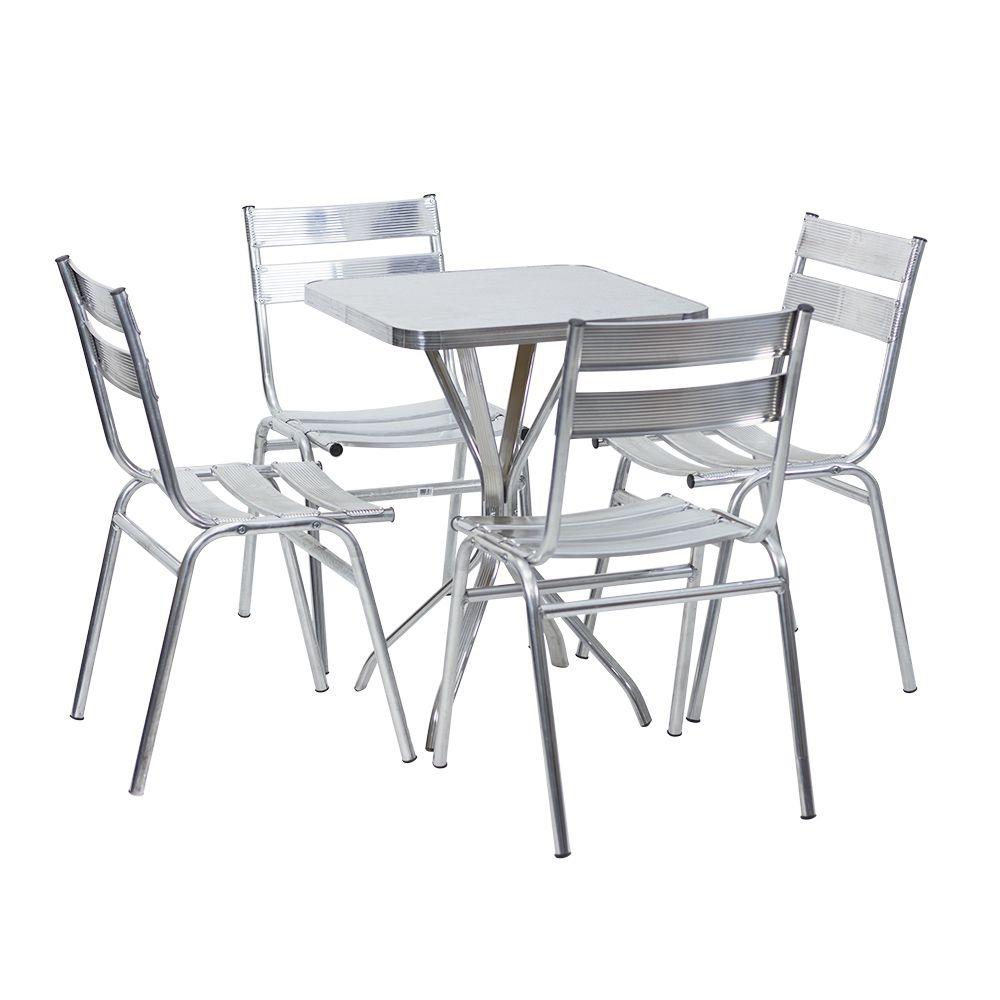 Mesa De Alum Nio 60 Cm X 60 Cm Quadrada Com 4 Cadeiras