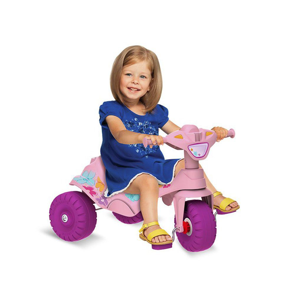 Triciclo Motoka Passeio e Pedal Gatinha Rosa