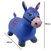 Brinquedo Cavalinho Pula Pula Inflável com Som e Led WMTDS787 Azul