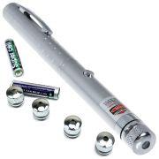 Caneta Laser Verde Pointer 300mW com 5 Ponteiras de Efeitos Prata