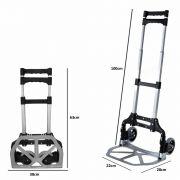 Carrinho para transporte cargas bagagem dobrável aluminio até 70 kgs CBRN02726