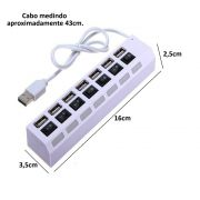 Hub USB 7 Portas 2.0 LED indicador 480 Mbps BRANCO CBRN01132
