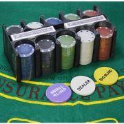 Jogo de Poker 200 Fichas 2 Baralhos Feltro c/ suporte CBR05444