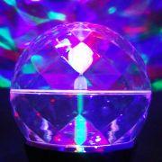 Mini Globo Giratório 3 Leds Rgb Strobo Projetor Holográfico DS2242