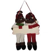 Papai Noel Boneco de Neve Pelúcia Luxo Placa Feliz Natal 25cm de Altura CBRN0463 cod 0084