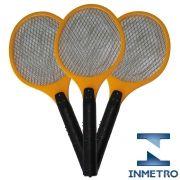 Raquete elétrica mata mosquito kit 3 peças amarelo CBRN05574