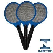 Raquete elétrica mata mosquito kit 3 peças Azul CBRN05581