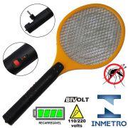 Raquete Mata Mosquito, Mosca e Inseto Elétrica Recarregável Bi-volt Amarelo CBRN0760