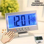 Relógio digital acionamento sonoro despertador PRATA CBRN01439