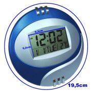 Relogio de parede e mesa com alarme termometro AZUL CBRN01293