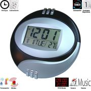 Relogio de parede com alarme termometro PRETO CBRN02085