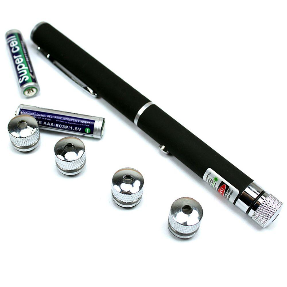 Caneta Laser Verde Pointer 300mW com 5 Ponteiras de Efeitos PRETA