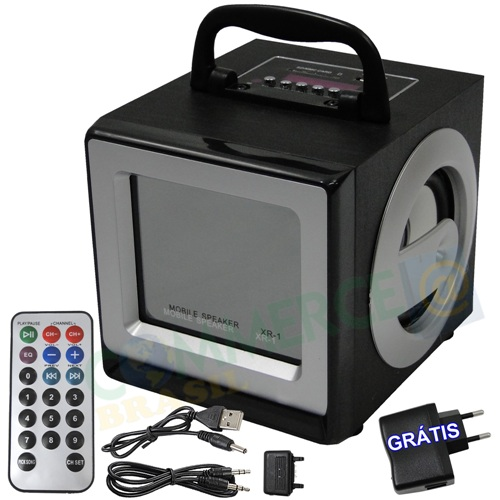 Caixa De Som Portátil Radio Fm MP3 USB SD XR-1 Recarregável