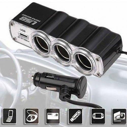 Adaptador Veicular Triplo p/ Acendedor de Cigarro Automóvel 3 Saídas + 1 USB 5V WF0120 12V/24V
