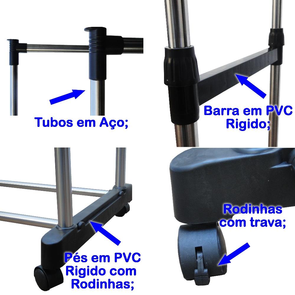 Arara Organizador Roupas Duplo de Aço para Closet CBR01100