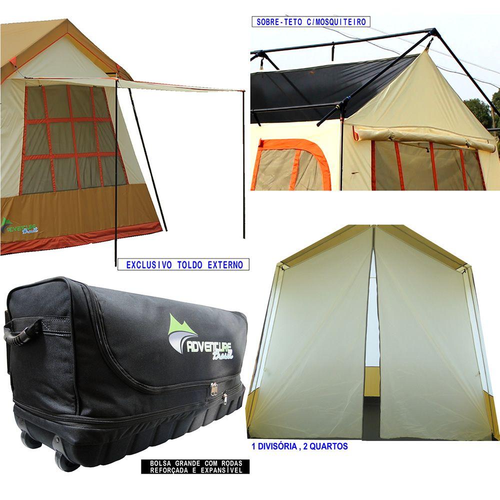 Barraca de camping mansão 10 pessoas Adventure Brasil ADV-1001 Marrom