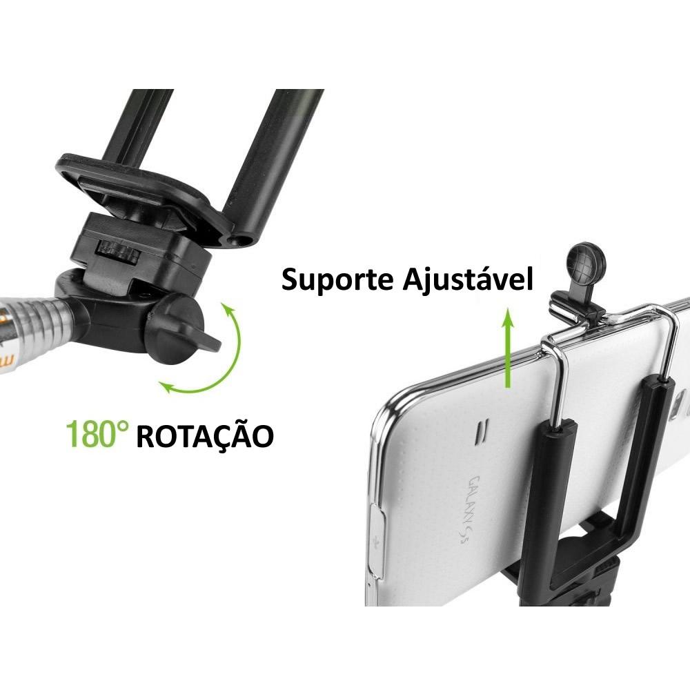 Bastão Selfie Monopod com Zoom Bluetooth Celular WMTDS2589 Branco