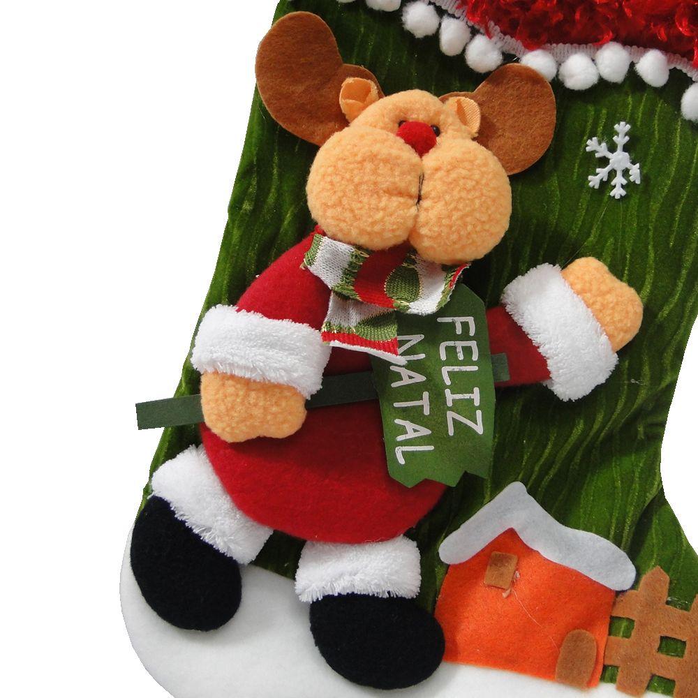 Bota de Natal em Tecido com Alce 1447 60cm de Altura