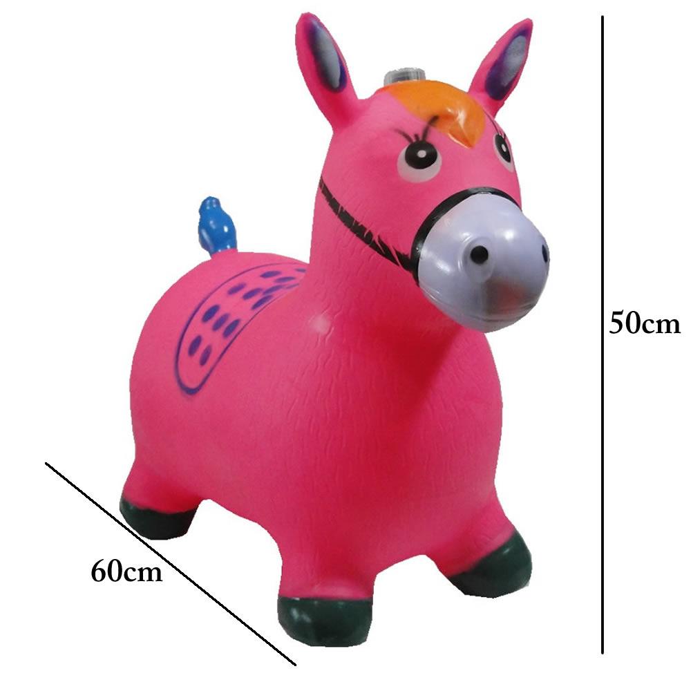Brinquedo Cavalinho Pula Pula Inflável com Som e Led WMTDS787 Rosa