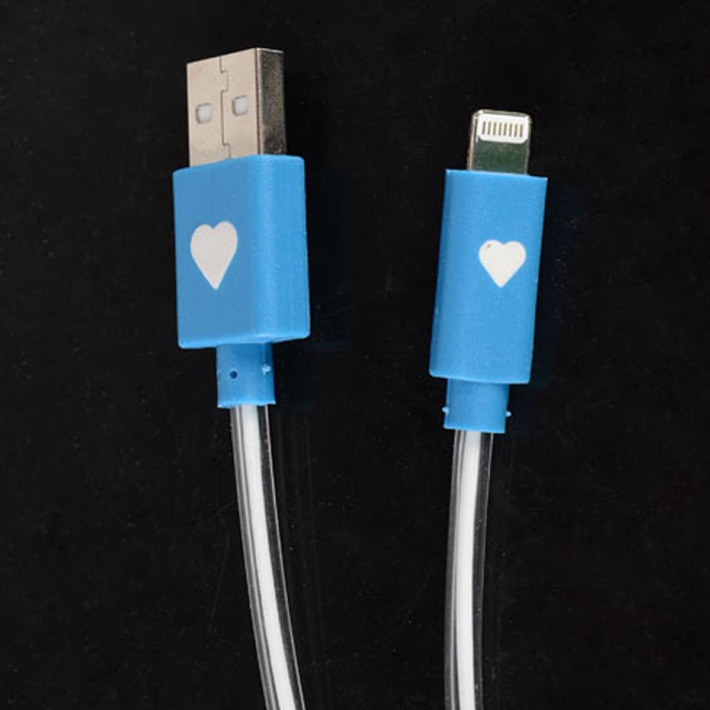 Cabo Iphone 5 Dados e Carregador com LED WMTCB5GLED2 Azul 95cm