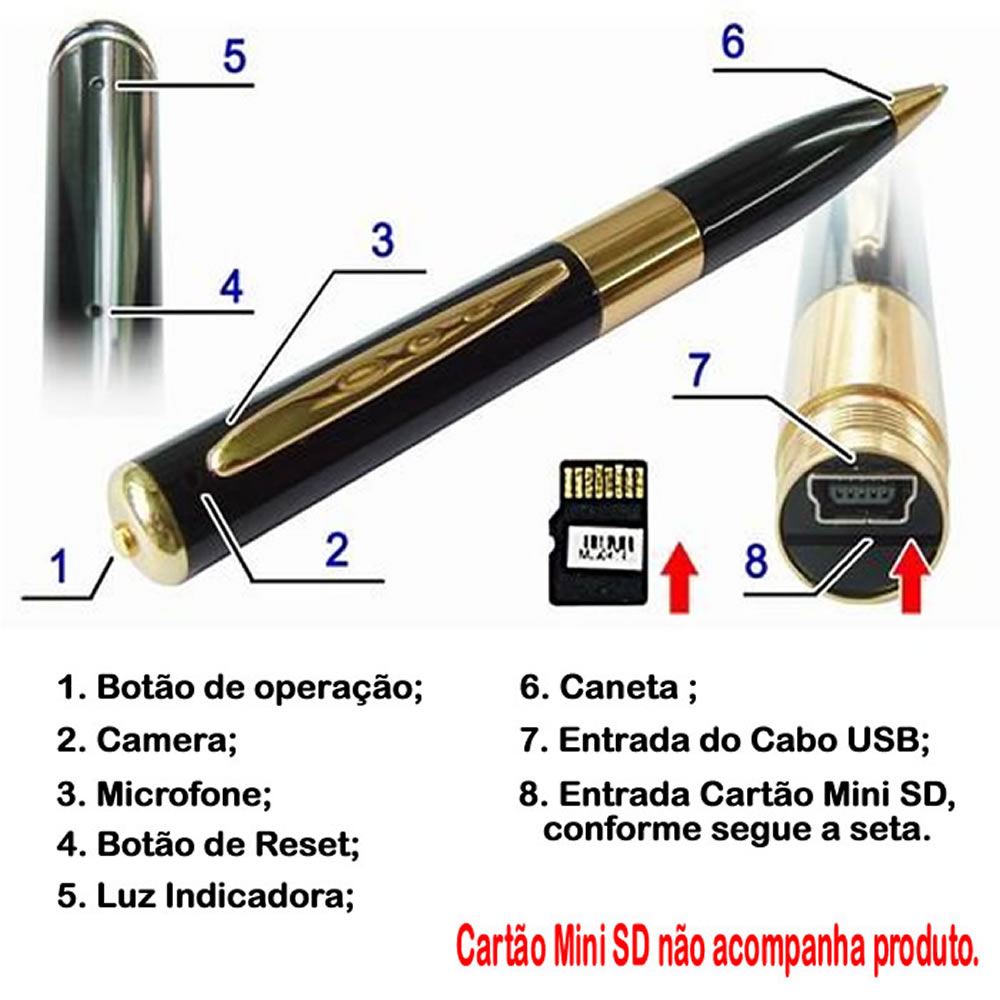 Caneta Espiã Sky Pen Micro-camera Filmadora ou Foto CBR-1038