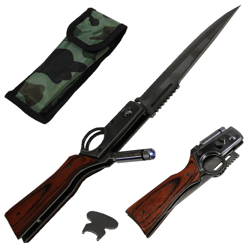 Canivete Automático Taue WMTA-178 com Mini Lanterna + Bolsa Camuflada