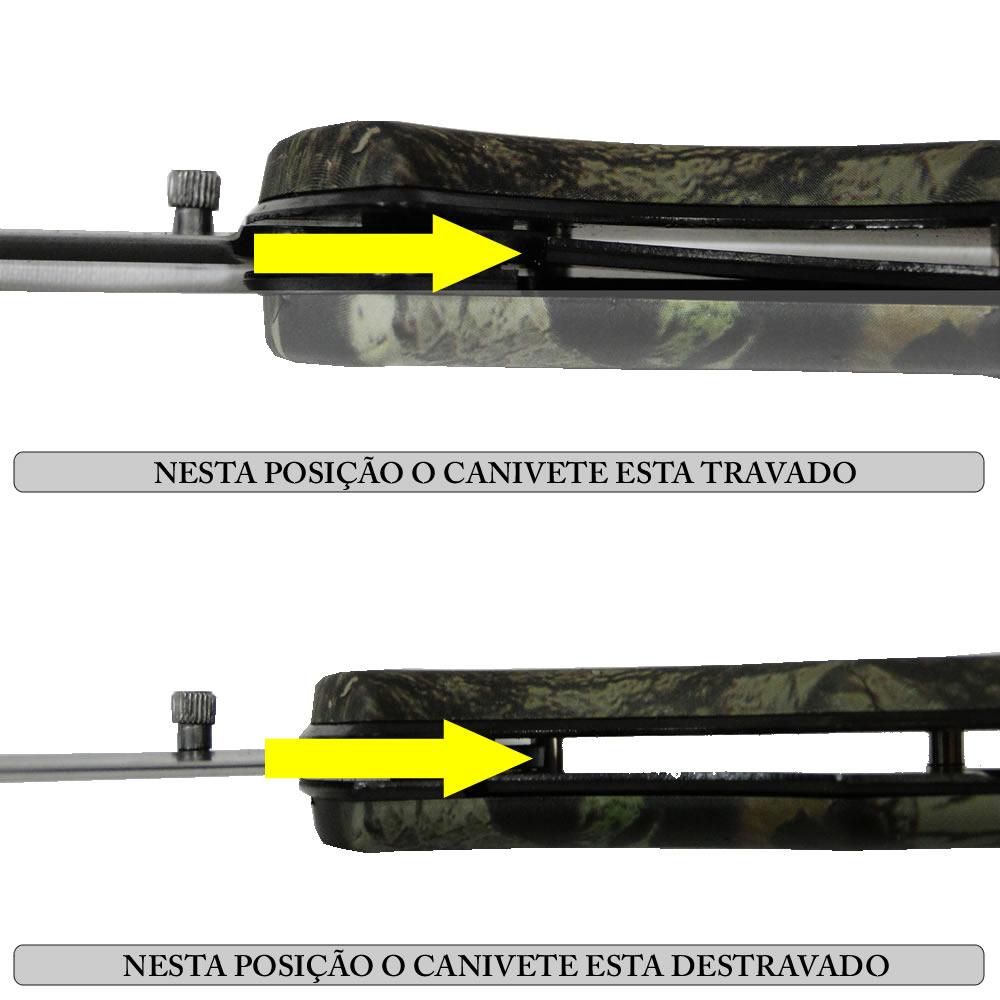 Canivete Manual Lâmina Negra Inox Taue Luxo WMTKA408 Camuflado + Bolsa