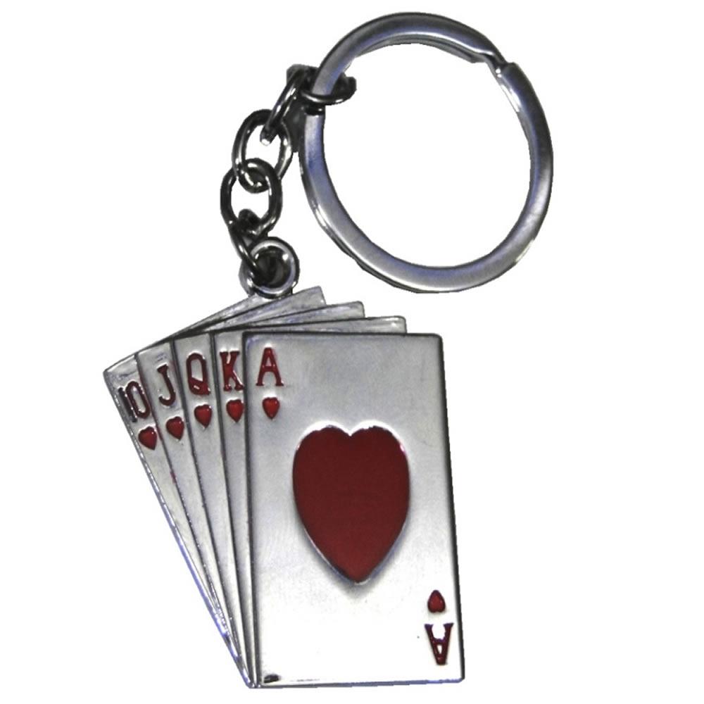 Chaveiro Poker Cartas Baralho Aço Inox CBR-01036