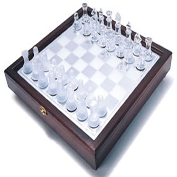 Jogo de Xadrez Tabuleiro Vidro Maleta de Madeira 20 cm GBA19-S