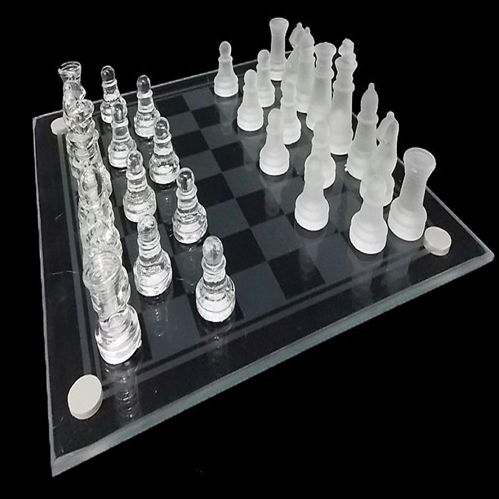 Jogo de Xadrez Tabuleiro Vidro Transparente Fosco 20 cm CBR1088