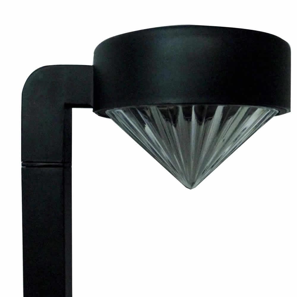 Luminária Solar 2 PC Preto PVC 1662 Led SMD Branco Quente - EC23238