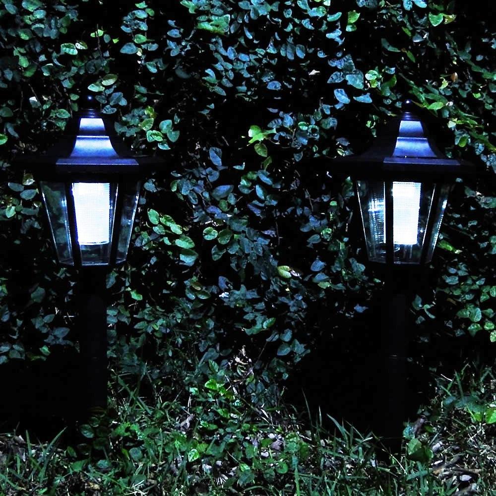 Luminária Solar Jardim Poste PVC Preto 1391 EC23184 Estilo Colonial 1 peça