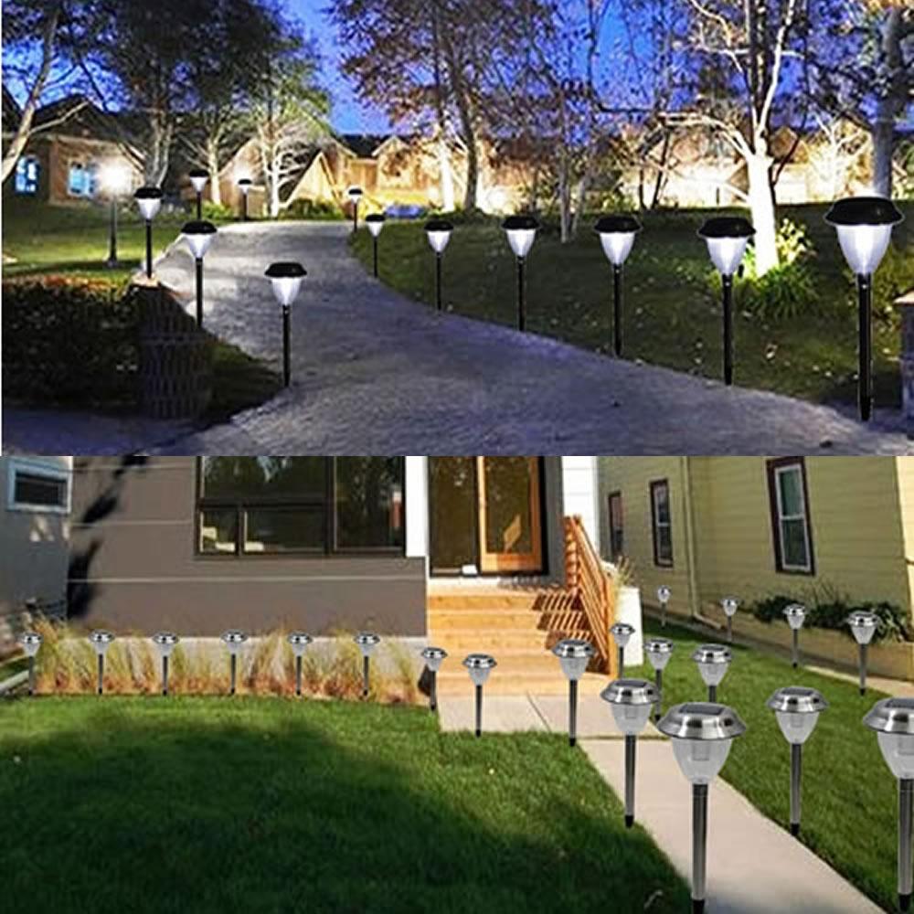 Luminaria solar para jardim 1 peça aço inox EC1120 CD 1388
