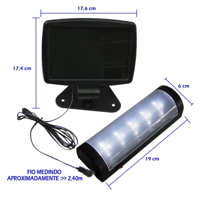 Luminária Solar parede e teto 5 LEDS premium 1385
