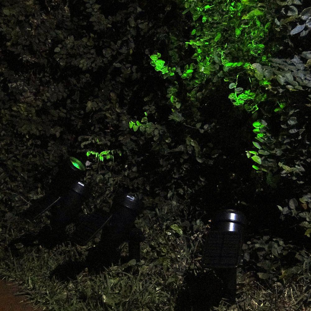 Luminária Solar Spot Jardim PVC Preto 1377 EC23276 4 Leds Verde Fortes