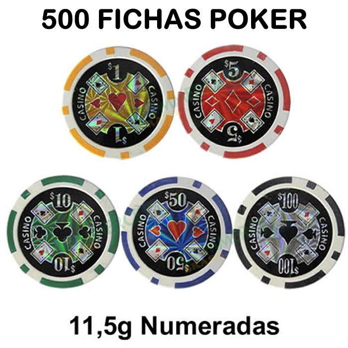 VNE036 - Maleta de Poker 500 Fichas Luxo Brilhantes Numeradas 11,5gr - Suporte de Fichas Descolado, Pequenos Amassados