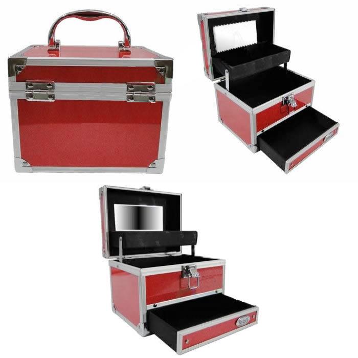 Maleta Maquiagem e Jóias Alumínio Rubys FS-1122H + BRINDE