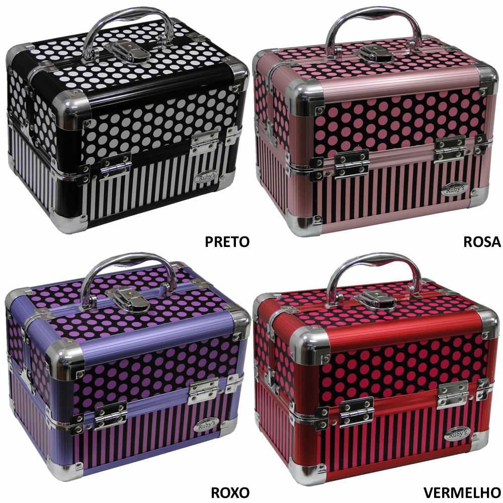 Maleta Maquiagem Jóias Bijou Color Alumínio Rubys FS-1142F