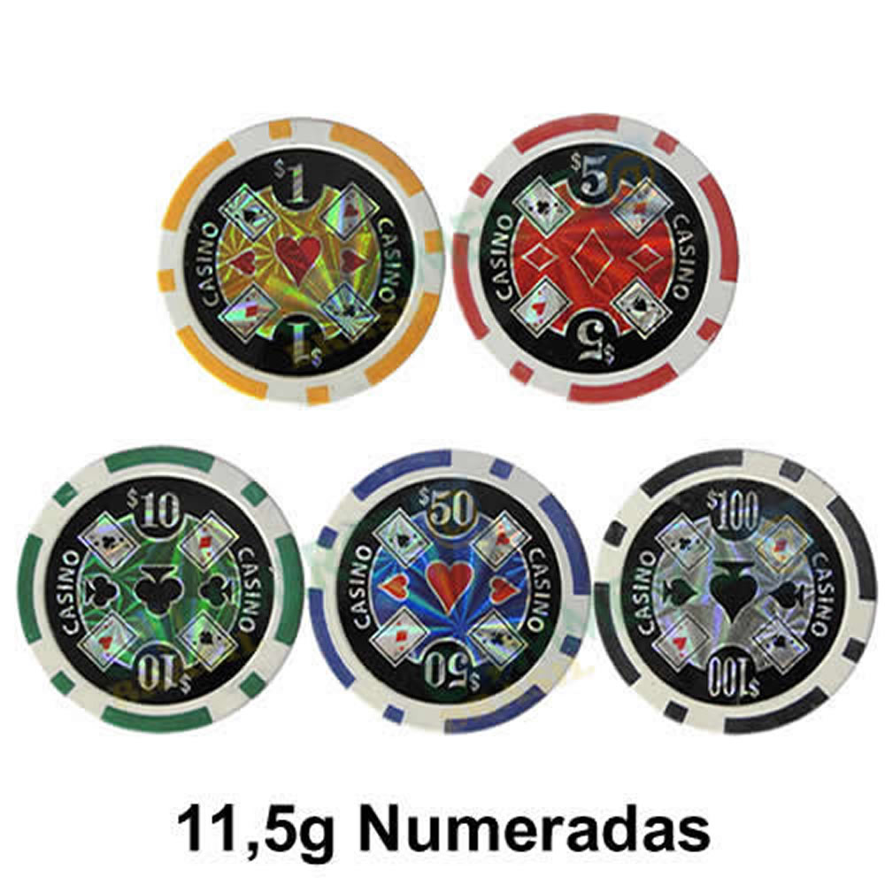 Maleta Poker 300 Fichas Luxo Brilhantes Numeradas 11,5gr CBR01083