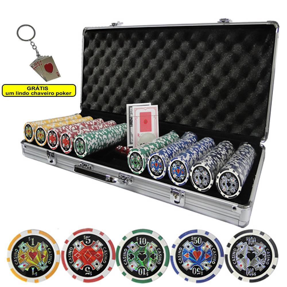 Maleta Poker 500 Fichas Luxo Brilhantes Numeradas 11,5gr CBR01082